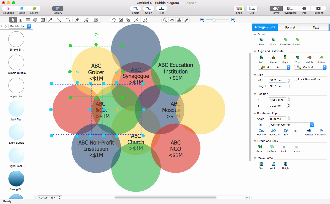 how to export bubble diagram to word