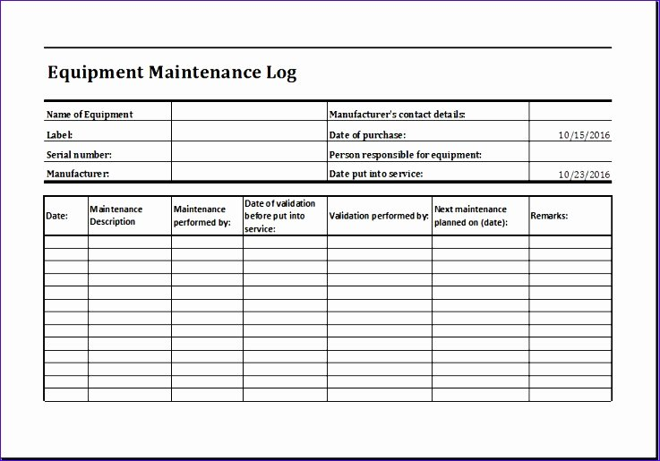 Building Maintenance Log Template Beautiful 7 Building Maintenance Checklist Exceltemplates Exceltemplates