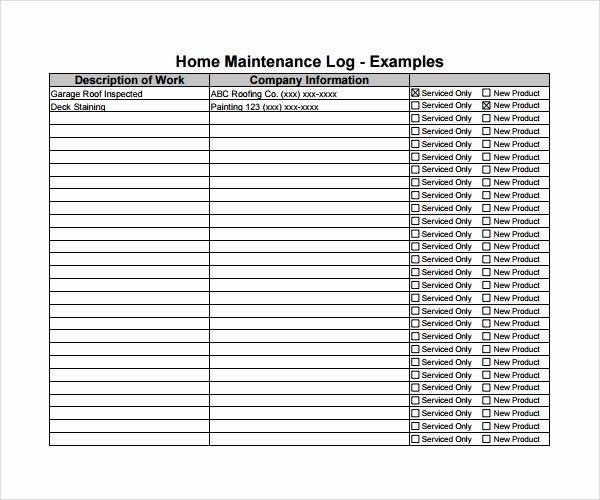 Building Maintenance Log Template Inspirational Sample Maintenance Log Template 9 Free Documents In Pdf