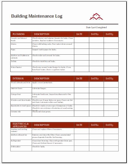 Building Maintenance Log Template Lovely Building Maintenance Log Templates