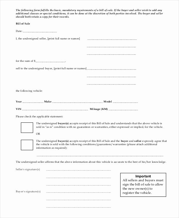 Business Bill Of Sale Best Of 11 Vehicle Bill Of Sales Free Sample Example format