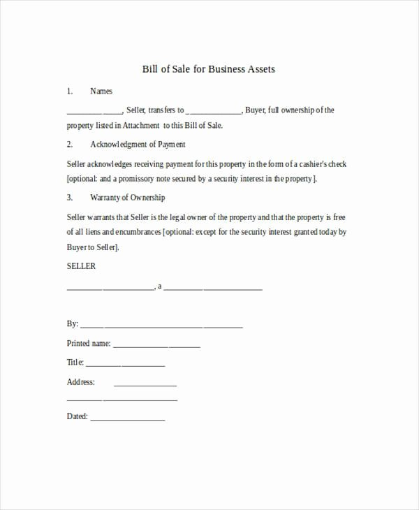 Business Bill Of Sale Elegant Free 36 Bill Of Sale forms In Word