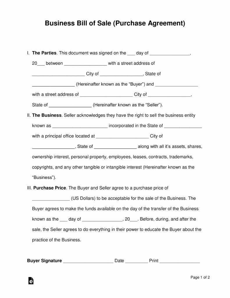 Business Bill Of Sale Pdf Awesome Free Business Bill Of Sale form Purchase Agreement Word Pdf