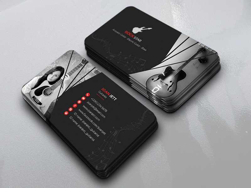 Business Card for Musicians Awesome Guitar Musician Business Card by 🎨 Rock Design 🎨 Dribbble