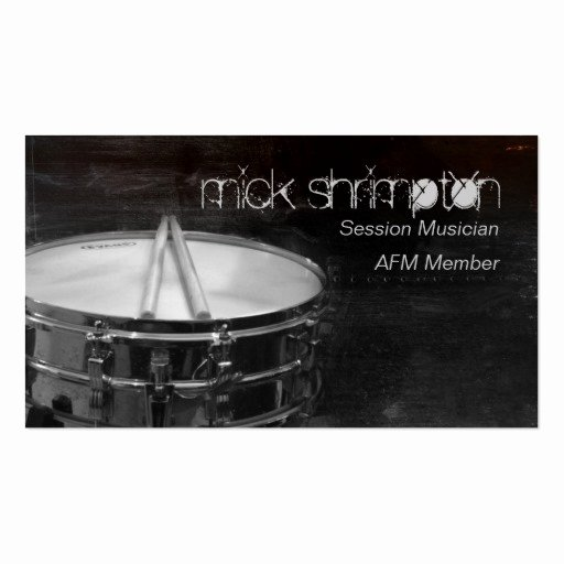 Business Card for Musicians Fresh Grunge Drummer Musician Business Card
