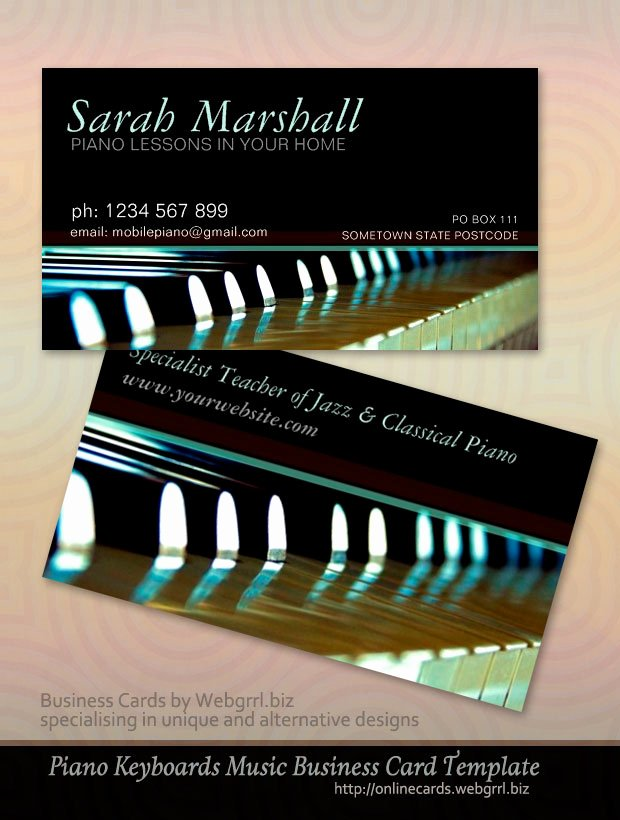 Business Card for Musicians Luxury Music Teacher Piano Business Cards