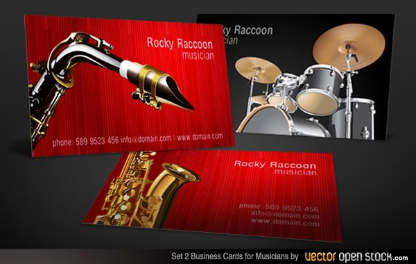 Business Card for Musicians Luxury Vector Musicians Business Cards Designs Set 2 Download Free Vector Art
