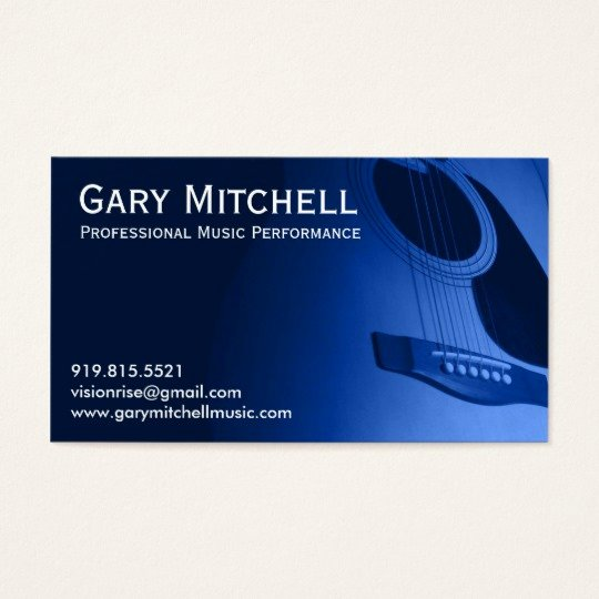 Business Card for Musicians New Gary Mitchell Music Business Card