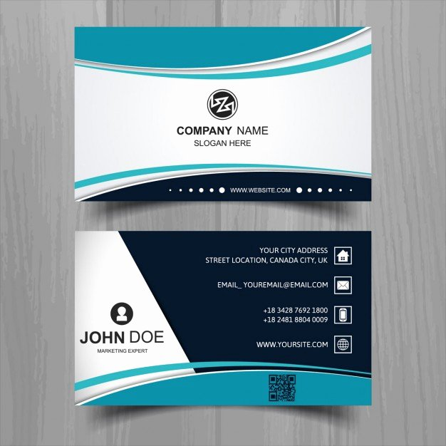 Business Card Images Free Fresh Modern Business Card with Turquoise Wavy Shapes Vector