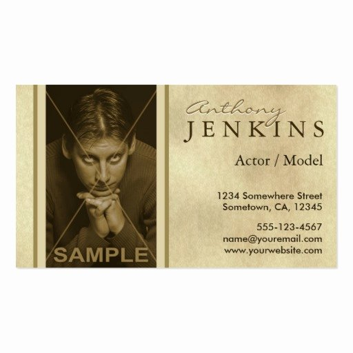 Business Cards for Actors Fresh Headshot Sepia Texture Model Actor Business Cards