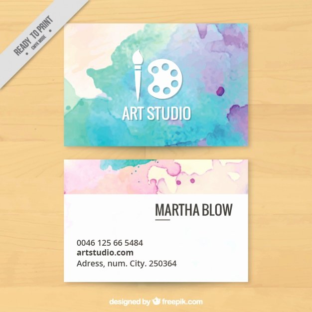 Business Cards for Artists Beautiful Art Studio Business Card Painted with Watercolors Vector