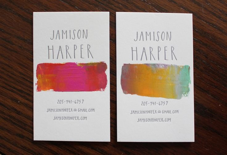 Business Cards for Artists New Hand Lettering Watercolor Business Card Design Branding Pinterest