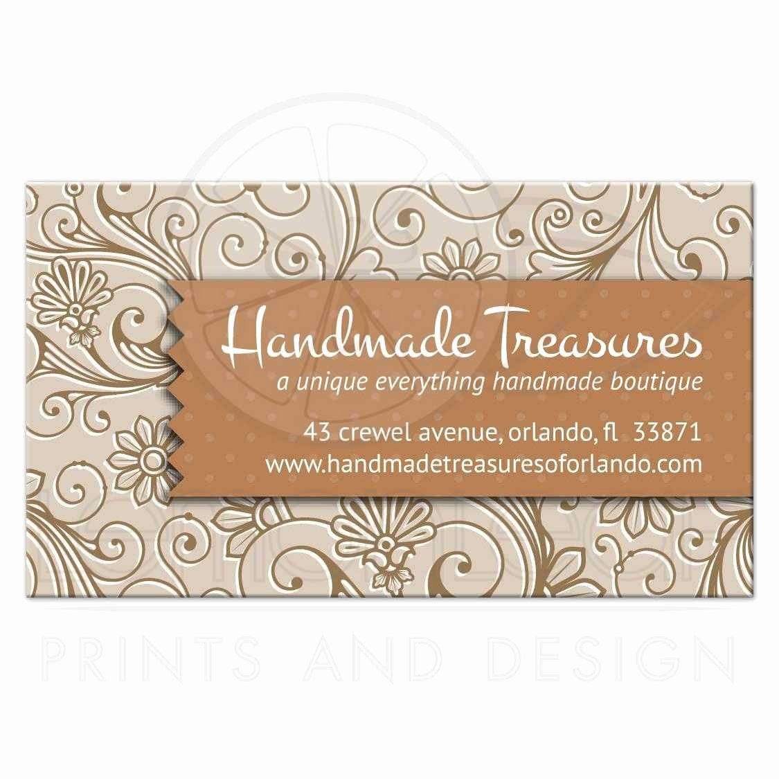 Business Cards for Crafters Fresh Business Card Crafters Handmade Floral Damask