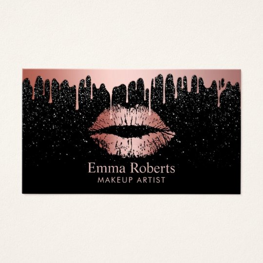 Business Cards for Makeup Artist Beautiful Makeup Artist Rose Gold Lips Trendy Dripping Business Card