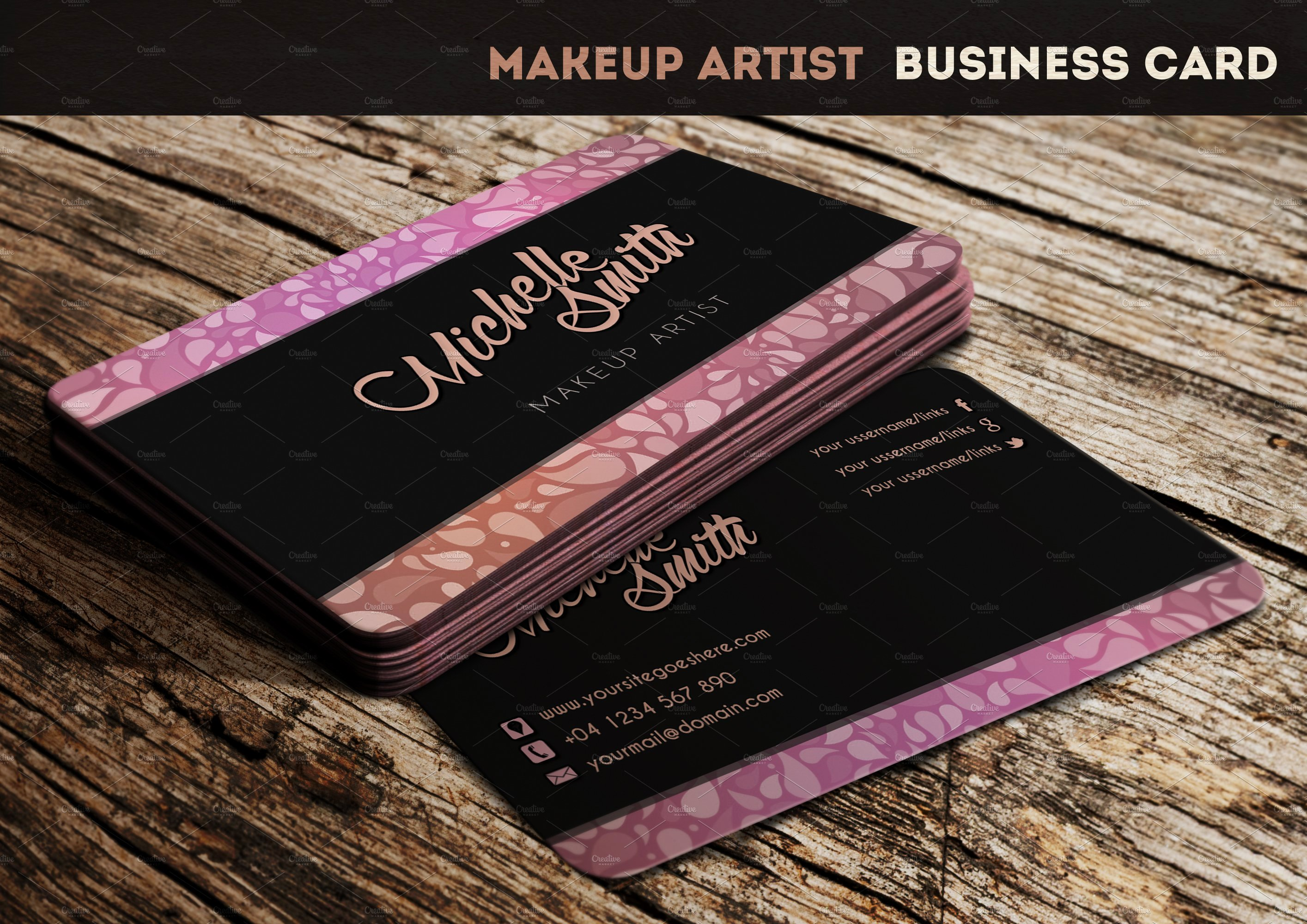 Business Cards for Makeup Artist Luxury Makeup Artist Business Card Business Card Templates Creative Market