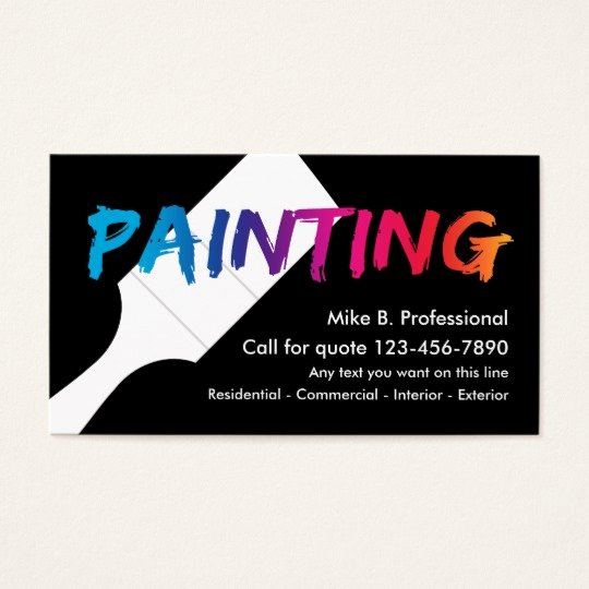 Business Cards for Painters Beautiful Cool Professional Painter Business Card