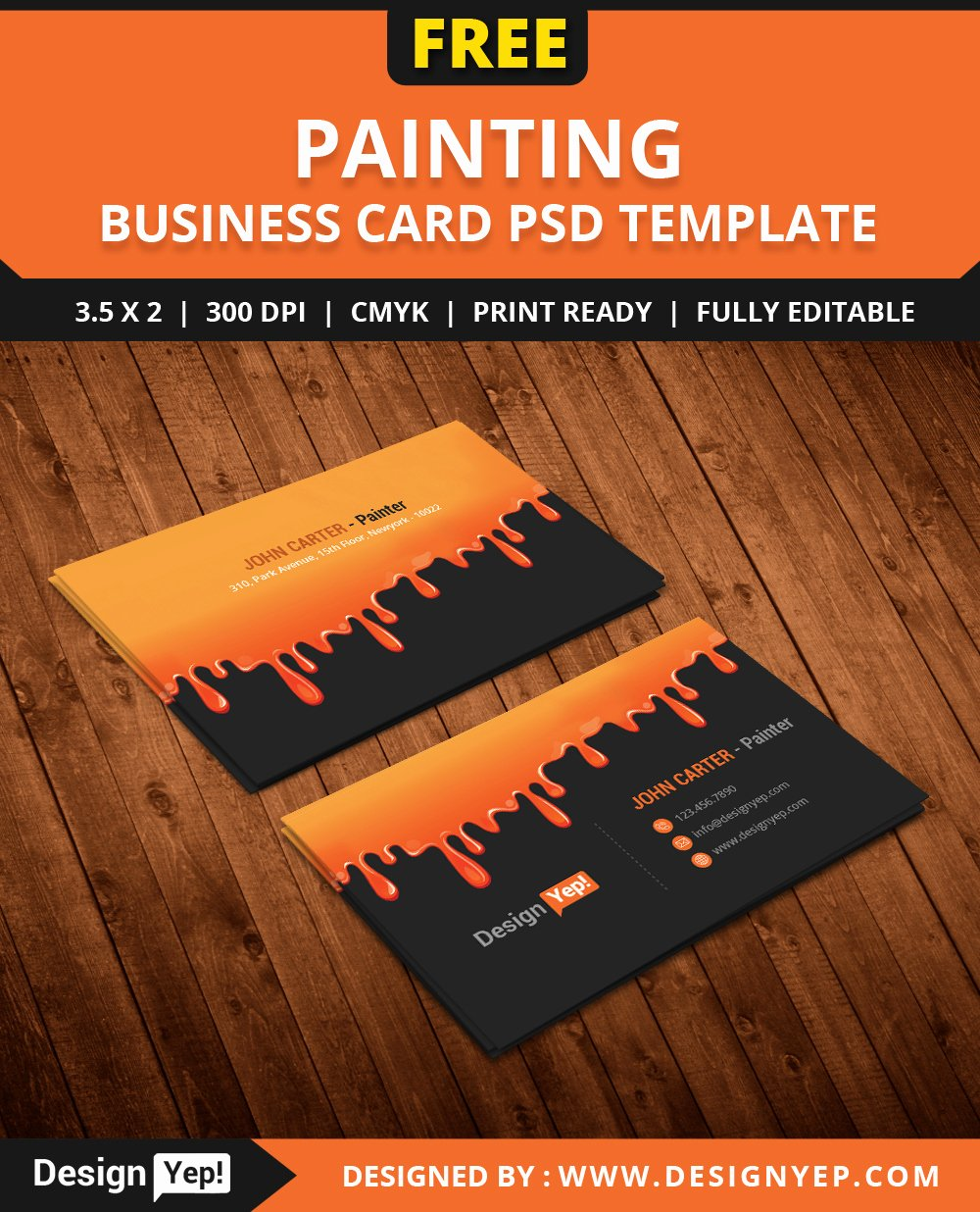 Business Cards for Painters Beautiful Free Painting Business Card Psd Template Designyep