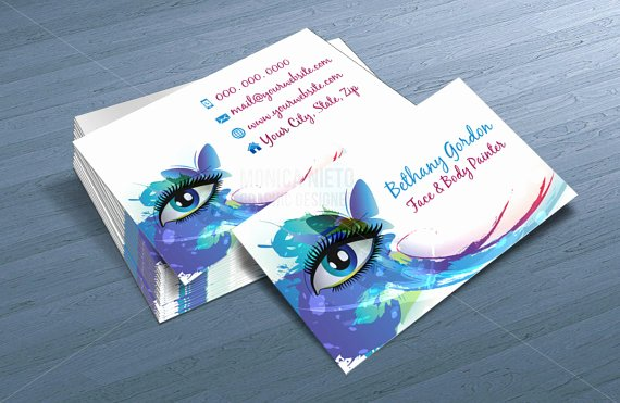 Business Cards for Painters Unique Custom Printable Face Painter Business Card Template