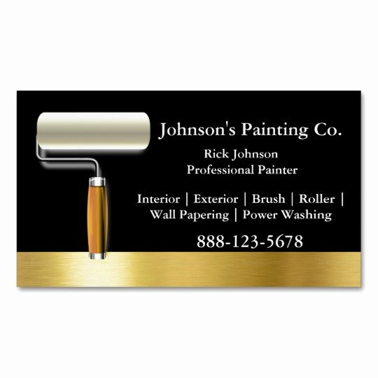 Business Cards for Painters Unique Painter Black Gold Paint Roller Magnetic Business Card