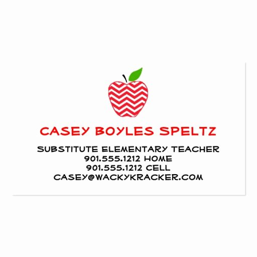 Business Cards for Teachers Awesome Substitute Teacher Business Cards