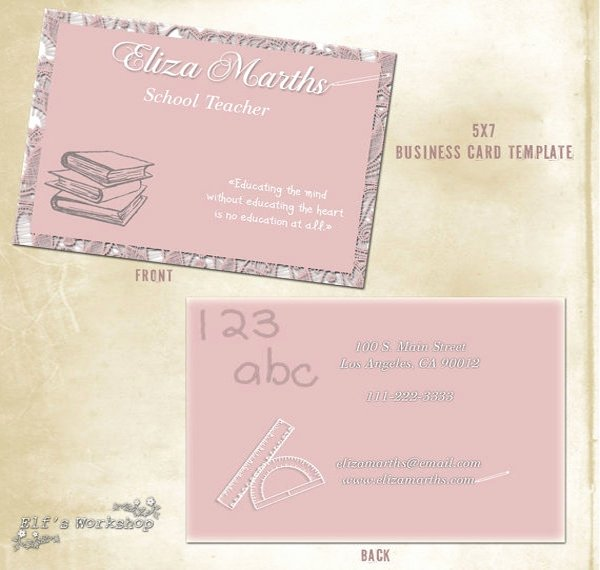 Business Cards for Teachers Fresh 56 Teachers Business Cards Ai Ms Word Publisher