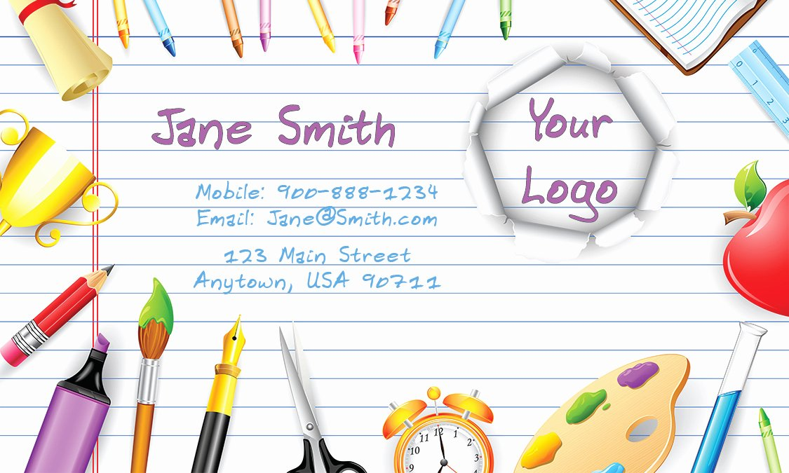 Business Cards for Teachers Fresh Art Teacher Business Cards Design