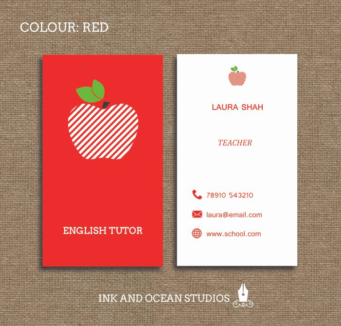 Business Cards for Teachers Inspirational Printable Stylish Elegant Teacher Tutor Education Business
