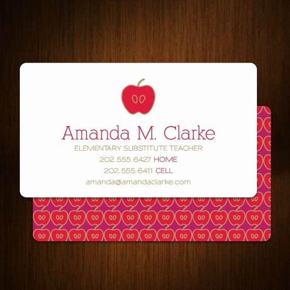 Business Cards for Teachers Luxury Modern Substitute Teacher Business Cards Set Of 100 by © Malloryhopedesign $48 00
