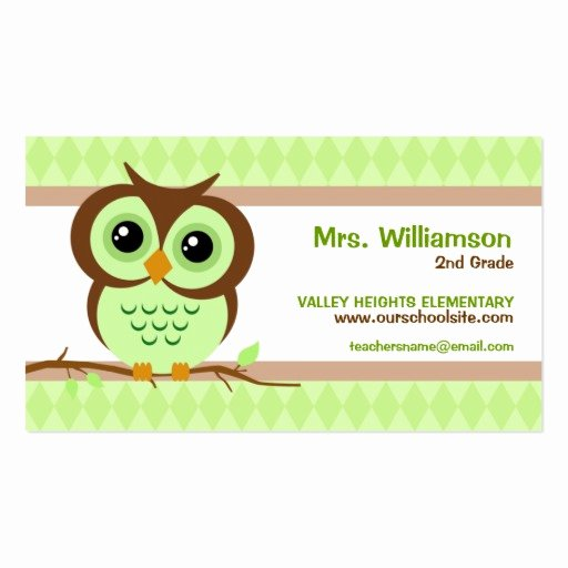 Business Cards for Teachers Luxury Owly Green Teacher Business Cards