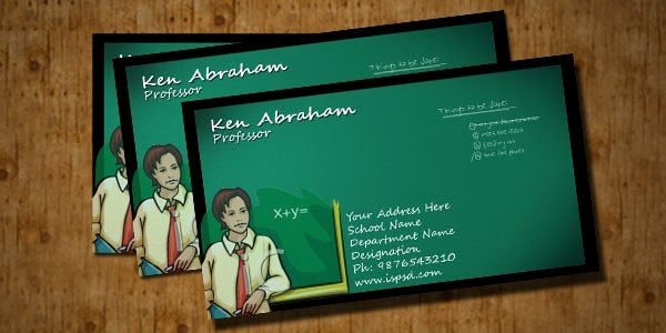 Business Cards for Teachers New Teacher Business Card Psd