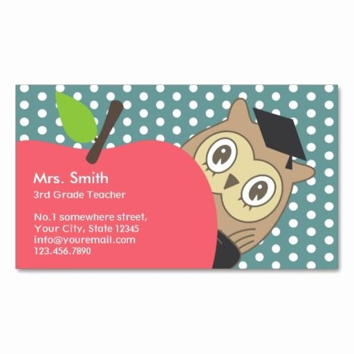Business Cards for Teachers Unique School Teacher Cute Apple & Owl Business Card Zazzle Teacher Business Cards