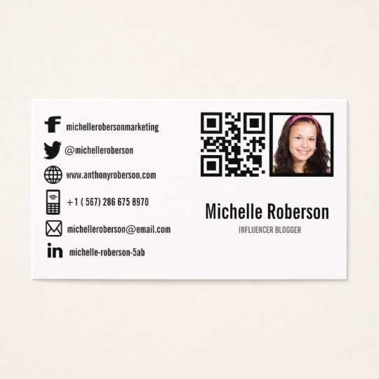 Business Cards with social Media Awesome Photo Qr Code and social Media Icons Business Card