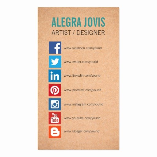 Business Cards with social Media Awesome social Media Icons Symbols Business Card