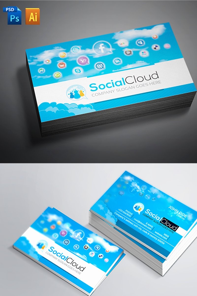 Business Cards with social Media Beautiful social Media Business Card Corporate Identity Template
