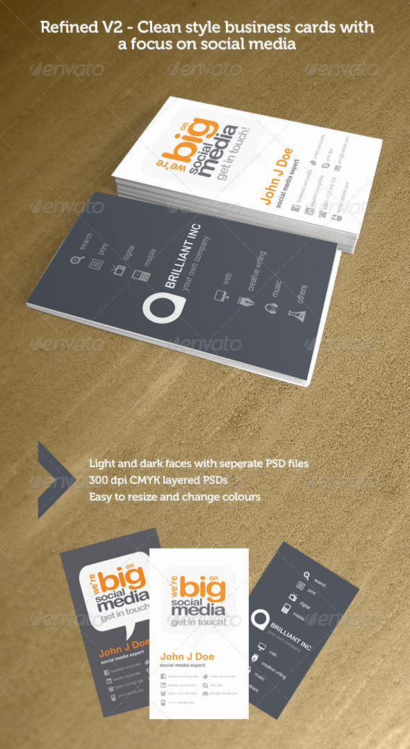 Business Cards with social Media Luxury Refined V2 social Media Business Cards by ather
