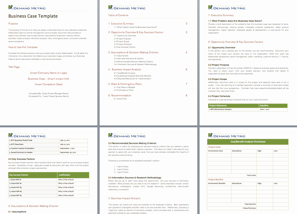 Business Case Template Excel Unique Business Case Template