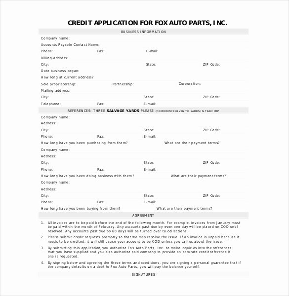 Business Credit Application Pdf Best Of Credit Application Template 33 Examples In Pdf Word