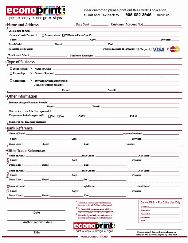 Business Credit Application Pdf Elegant Business Credit Application form Free Printable Documents