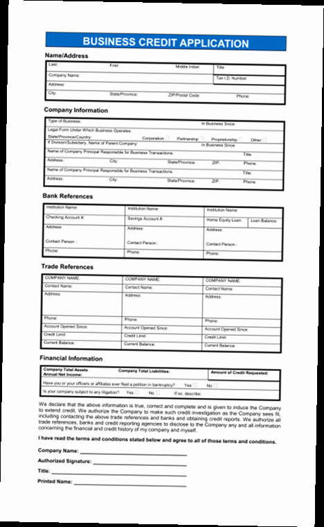 Business Credit Application Pdf Fresh Business Credit Application form Pdf