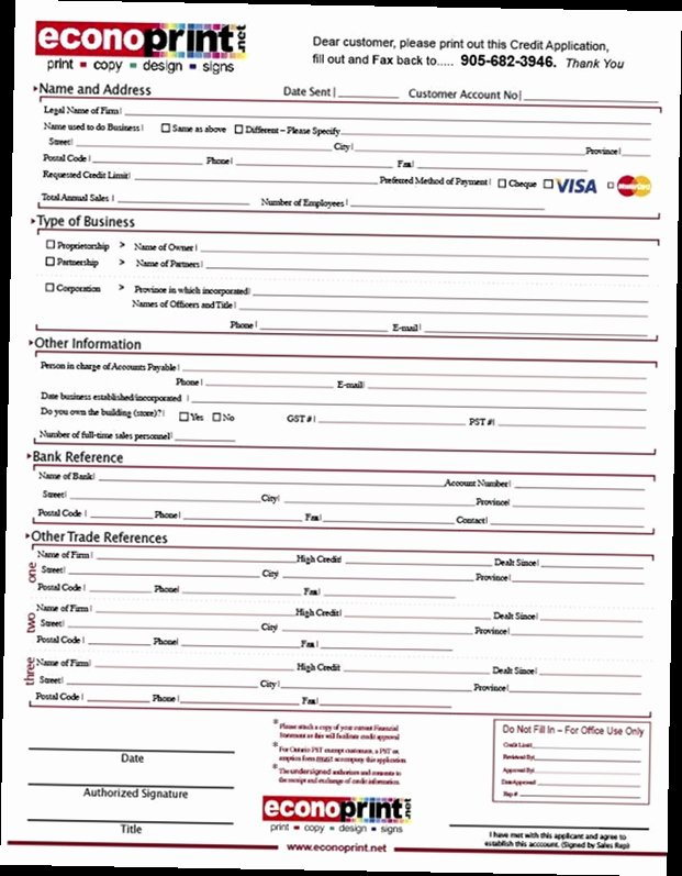 Business Credit Application Pdf Inspirational Business Credit Application form Pdf