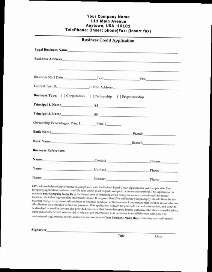 Business Credit Application Pdf Luxury Business Credit Application form Pdf