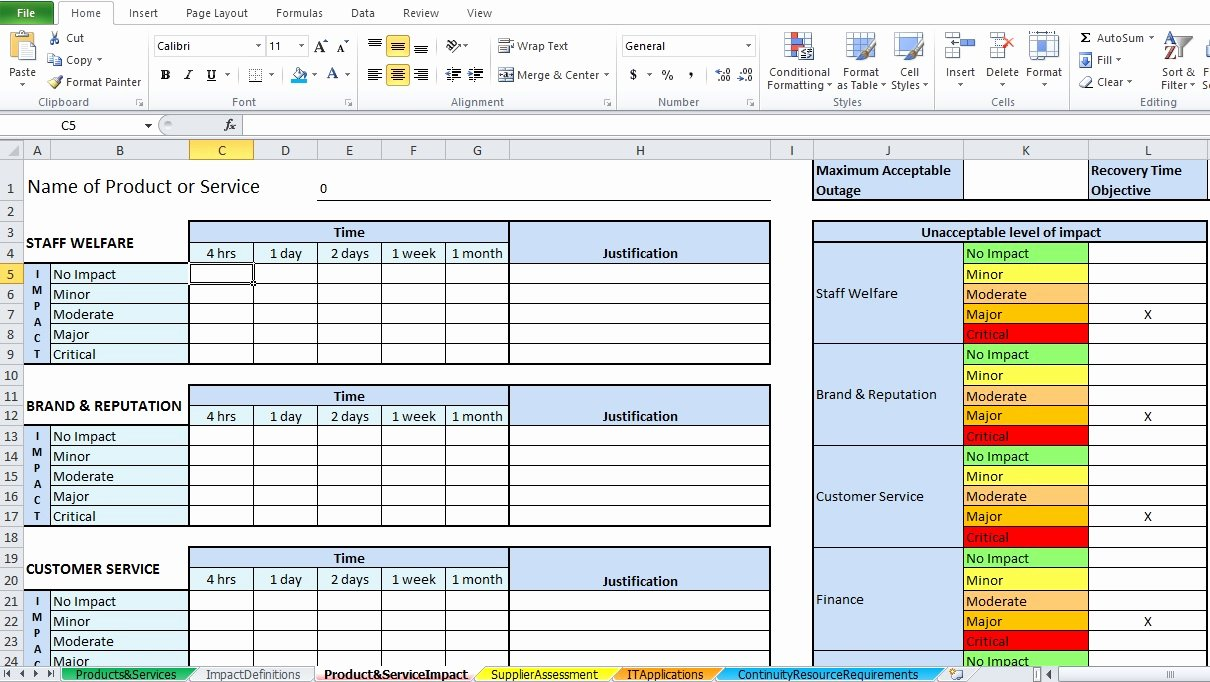 Business Impact Analysis Example Inspirational Business Impact Analysis Template Excel Excel Tmp