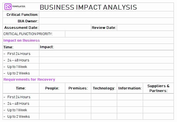 Business Impact Analysis Example Lovely Business Impact Analysis Template Excel Download Free