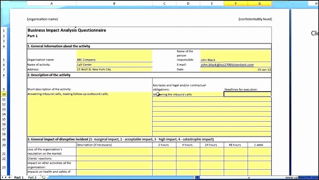 Business Impact Analysis Example New Business Impact Analysis Template Template Update234