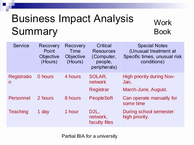 Business Impact Analysis Template Awesome Business Impact Analysis Template