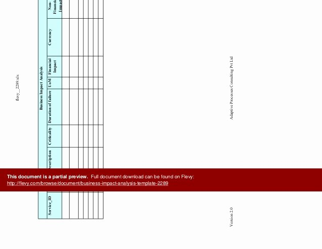 Business Impact Analysis Template Beautiful Business Impact Analysis Template