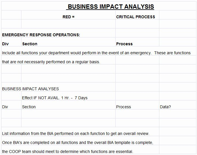 Business Impact Analysis Template Excel Luxury 9 Business Analysis Templates Pdf Word