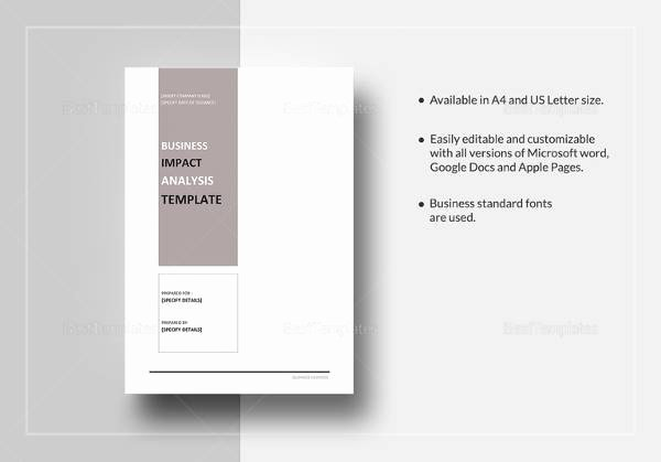 Business Impact Analysis Template Inspirational Free 6 Business Impact Analysis Samples In Google Docs Ms Word Pages