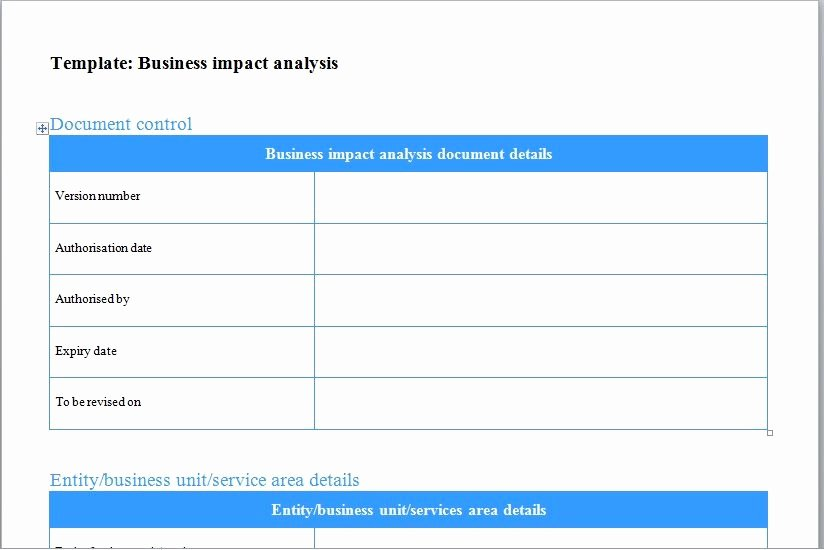 Business Impact Analysis Template Lovely Business Impact Analysis Template