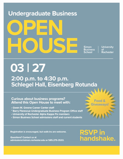 Business Open House Flyer Lovely Open House Barry Florescue Undergraduate Business Program University Of Rochester